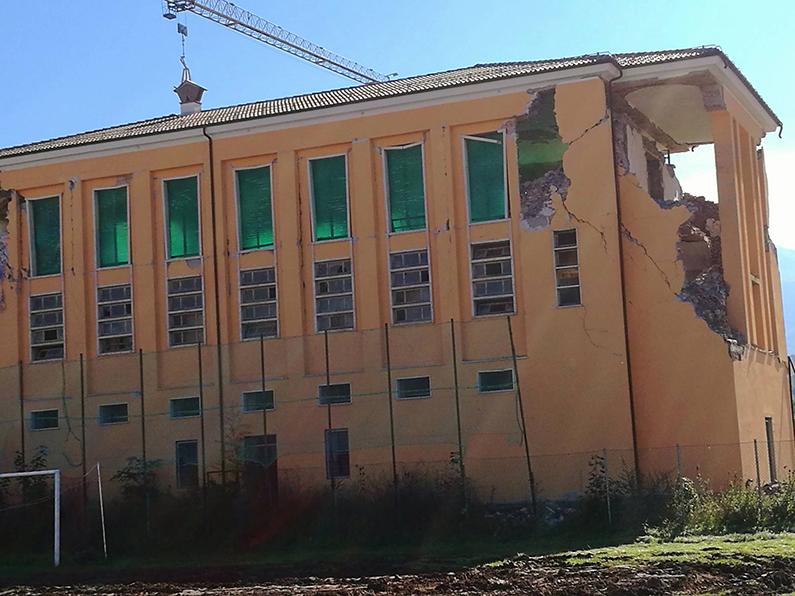 Estado actual de la Escuela de Hostelería de Amatrice tras el terremoto