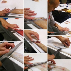 Go Majima trabajando con el pescado